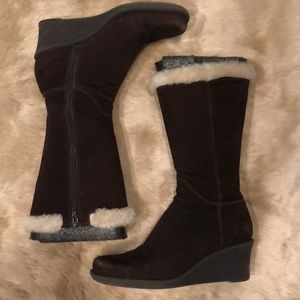 Mid Calf Brown Suede Wedge Side Zip Faux Fur Boots